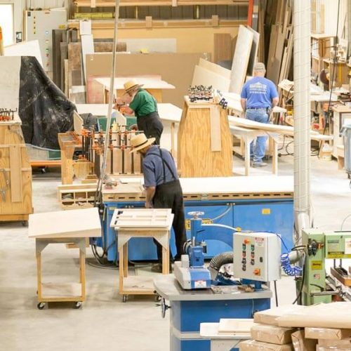 Cabinet assembly crew at Oxford Cabinetry